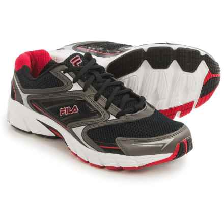 Fila Xtent 4 Running Shoes (For Men) in Black/Dark Silver/Red - Closeouts