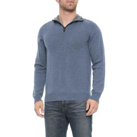 Filippo Riberti Zip Neck Sweater - Merino Wool (For Men) in Denim - Closeouts