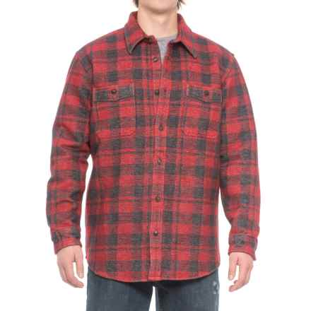 Filson Alaskan Double Chamois Shirt - Long Sleeve (For Men and Big Men) in Charcoal/Red - Closeouts