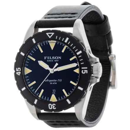 Filson Dutch Harbor Watch - 43mm, Black Leather Strap (For Men) in Black/Black - Closeouts
