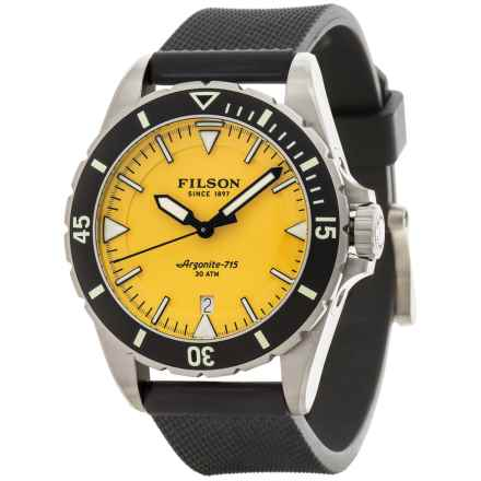 Filson Dutch Harbor Watch - 43mm, Rubber Band (For Men) in Yellow/Black - Closeouts