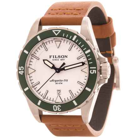 Filson Dutch Harbor Watch - 43mm, Tan Leather Strap (For Men) in White/Teak - Closeouts