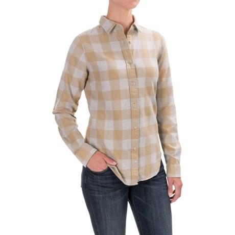 Filson Farrow Shirt - Long Sleeve (For Women) in Khaki/Grey Buffalo Check