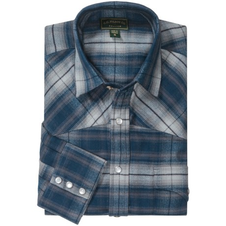 Filson Flannel Western Shirt - Snap Front, Long Sleeve (For Men) in Blue Multi