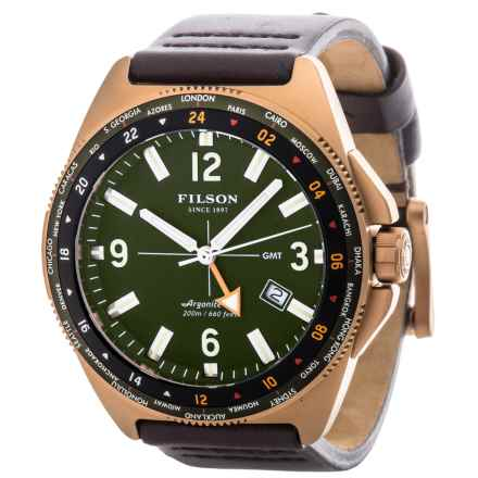 Filson Journeyman GMT Watch - Leather Band (For Men) in Green/Brown - Closeouts