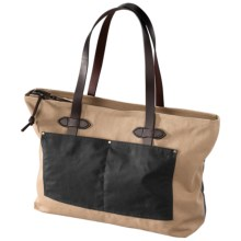 Filson Large Zip Tote Bag in Navy/Tan - Closeouts