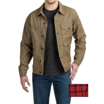 Filson Lined Short Cruiser Jacket - Waxed Cotton (For Men) in Tan/Red Plaid Lining - Closeouts