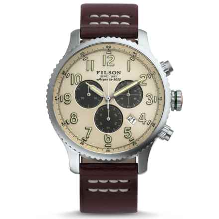 Filson Mackinaw Chronograph Field Watch - 43mm, Leather Strap (For Men) in Cream/Brown - Closeouts