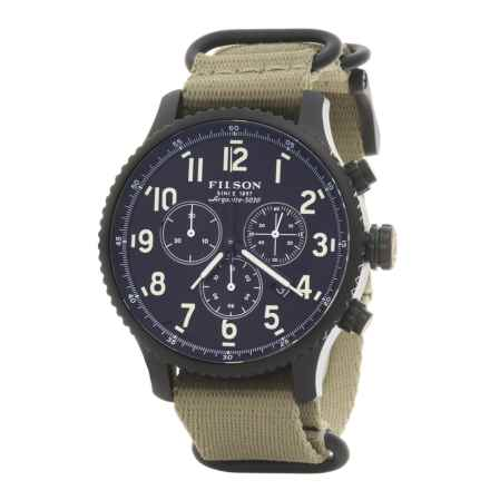 Filson Mackinaw Chronograph Field Watch - 43mm, Nylon Strap (For Men) in Black/Khaki - Closeouts