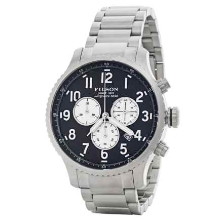Filson Mackinaw Chronograph Field Watch - 43mm, Polished Stainless Steel Band (For Men) in Navy Blue/Staniless - Closeouts