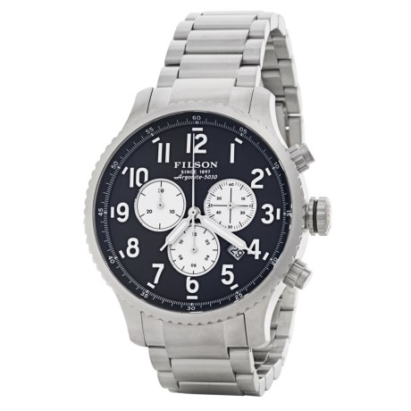 Filson Mackinaw Chronograph Field Watch - 43mm, Polished Stainless Steel Band (For Men) in Navy Blue/Staniless