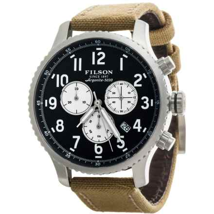Filson Mackinaw Chronograph Field Watch - Leather and Nylon Band (For Men) in Black/Stainless/Brown - Closeouts