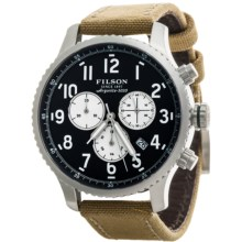 Filson Mackinaw Chronograph Field Watch - Leather and Nylon Band (For Men) in Navy Blue/Stainless/Brown - Closeouts