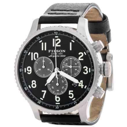 Filson Mackinaw Chronograph Field Watch - Leather Band (For Men) in Black/Black - Closeouts