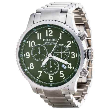 Filson Mackinaw Field Chronograph Watch - Stainless Steel Band (For Men) in Green/Stainless - Closeouts