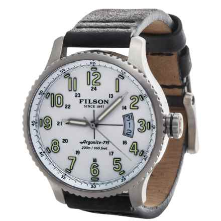 Filson Mackinaw Field Watch - Leather Band (For Men) in White/Stainless/Black - Closeouts