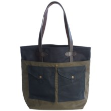 Filson Medium Tote Bag with Pockets in Navy/Otter Green - Closeouts