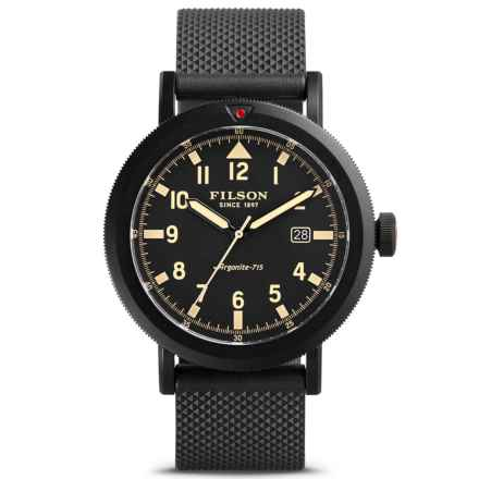 Filson Scout Argonite Quartz Watch - 45.5mm, Rubber Strap (For Men) in Black/Black - Closeouts