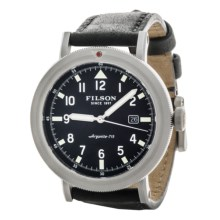 Filson Scout Black Dial Watch - Horween® Leather Band (For Men) in Black/Stainless/Black - Closeouts