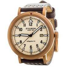 Filson Scout Cream Dial Watch - Bridle Leather Band (For Men) in Cream/Matte Brass/Dark Brown - Closeouts
