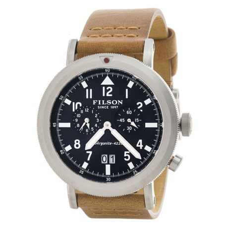 Filson Scout Dual Time Watch - 45.5mm, Leather Band (For Men) in Black/Natural