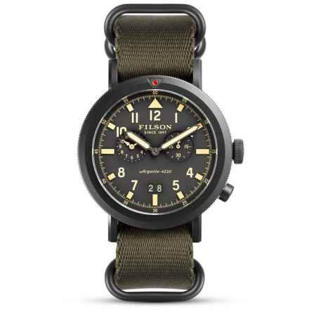 Filson Scout Dual Time Watch - 45.5mm, Nylon Strap (For Men) in Smoke Gray/Dark Olive - Closeouts