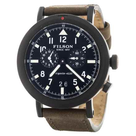 Filson Scout Dual Time Watch - Leather Band (For Men) in Black/Matte/Mushroom - Closeouts