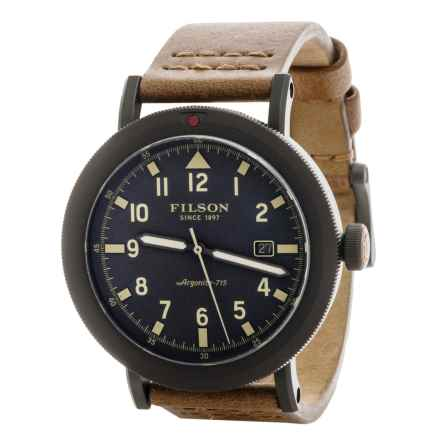 Filson Scout Gray Dial Watch - Horween® Leather Band (For Men) in Smoke Grey/Gunmetal/Natural - Closeouts