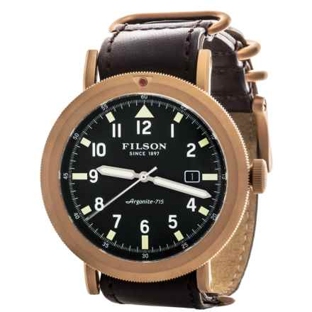 Filson Scout Watch - Combo Leather Band (For Men) in Green/Matte Brass/ Dark Brown - Closeouts