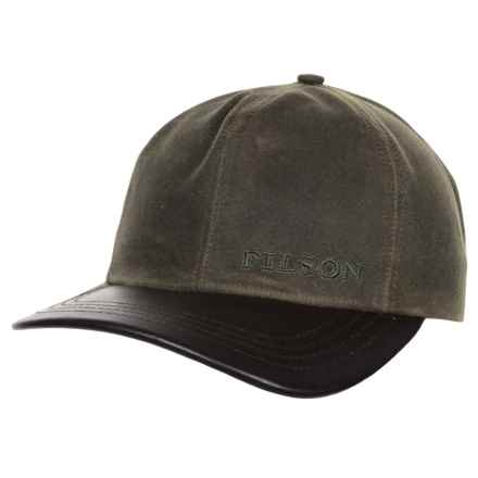 Filson Tin Cloth Leather Baseball Cap (For Men) in Otter Green - Closeouts