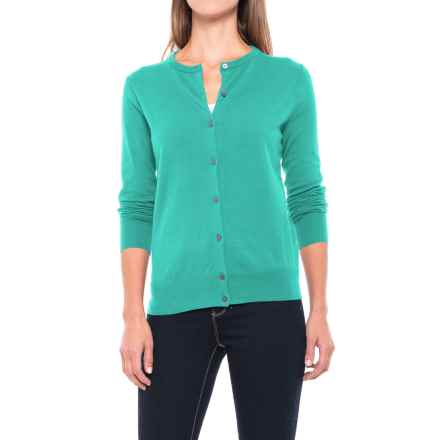 Fine-Gauge Cardigan Sweater - Supima® Cotton Blend, Long Sleeve (For Women) in Mint Green - 2nds