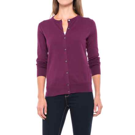 Fine-Gauge Cardigan Sweater - Supima® Cotton Blend, Long Sleeve (For Women) in Plum - 2nds