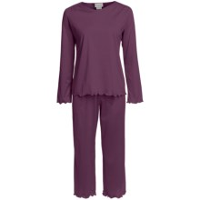 Fini Moore by Rosch Cotton Capri Pajamas - Long Sleeve (For Women) in Dark Berry - Closeouts