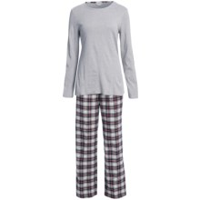 Fini Moore by Rosch Cotton Pajamas - Long Sleeve (For Women) in Grey/Plaid - Closeouts