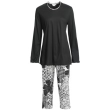 Fini Moore by Rosch Lettuce Edge Pajamas - Long Sleeve (For Women) in Black/White/Black Trim - Closeouts