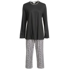 Fini Moore by Rosch Lettuce Edge Pajamas - Long Sleeve (For Women) in Black/White/Grey Trim - Closeouts