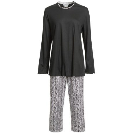 Fini Moore by Rosch Lettuce Edge Pajamas - Long Sleeve (For Women) in Black/White/Grey Trim