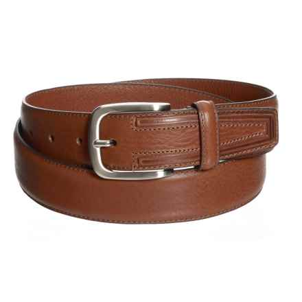 Firenze - Made in Italy Pebble Leather Belt (For Men) in Cognac - Closeouts