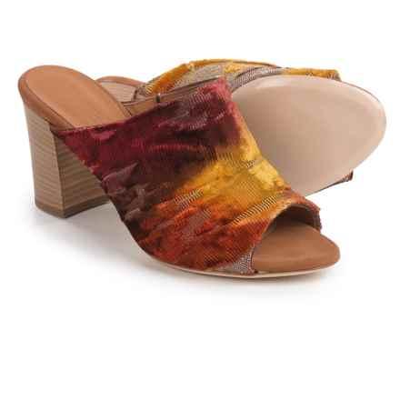 Firenze.Studio Teri Mule Shoes - Leather, Open Toe (For Women) in Cognac Velvet - Closeouts