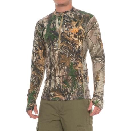 First Lite Llano Lightweight Shirt - Merino Wool, Zip Neck, Long Sleeve (For Men) in Realtree Xtra