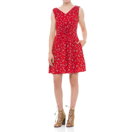 Fit + Flare Dress - V-Neck, Sleeveless (For Women)