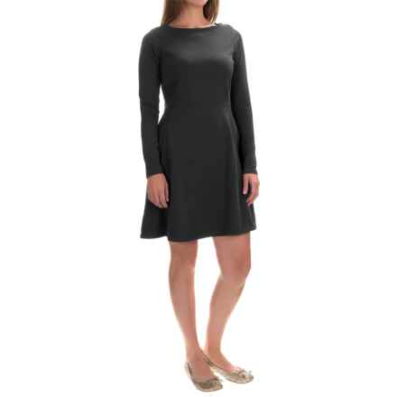 Fit & Flare Dress - Long Sleeve (For Women) in Black - 2nds