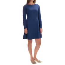Fit & Flare Dress - Long Sleeve (For Women) in Blue - 2nds