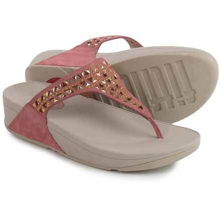 FitFlop Carmel Toe-Post Sandals - Suede (For Women) in Peach - Closeouts