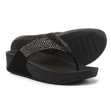 FitFlop Fit Flop Flare Wedge Flip-Flops - Leather (For Women) in Black - Closeouts