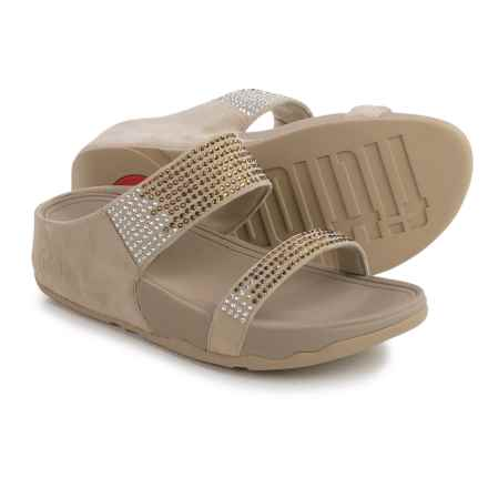 FitFlop Flare Slide Sandals - Suede (For Women) in Pebble - Closeouts