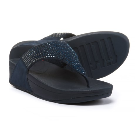 FitFlop Flare Wedge Flip-Flops - Leather (For Women) in Supernavy