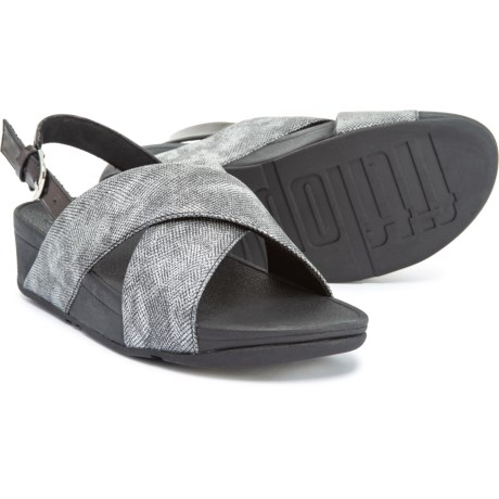 e2bde9073c49 FitFlop Lulu Cross-Back Strap Sandals (For Women) in Black Shimmer-Print