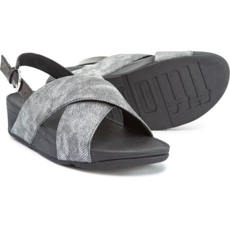 0e5fdcdb1 FitFlop Lulu Cross-Back Strap Sandals (For Women) in Black Shimmer-Print