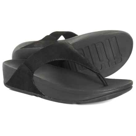 6d1edee041bf7d FitFlop Lulu Shimmer Check Flip-Flops - Leather (For Women) in Black